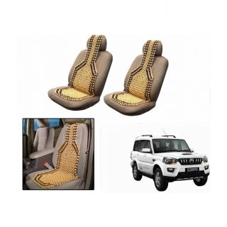 TAKECARE Beige Wooden Car Seat Beads Set Of 2 FOR MAHINDRA SCORPIO
