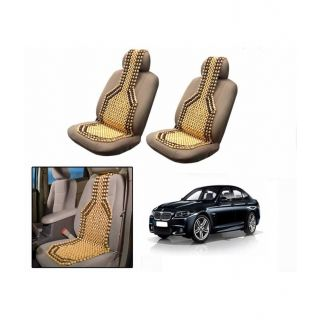 TAKECARE Beige Wooden Car Seat Beads Set Of 2 FOR BMW 6 SERIES