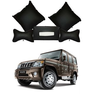 Takecare Medium Black Leatherite Combo Of Cushion Rest, Neck Rest, Tissue Dispenser For Mahindra Bolero Type-1