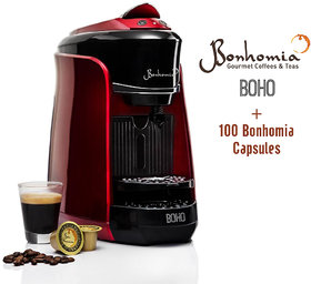 Bonhomia Boho Single Serve Capsule Coffee Maker Passion Red + 100 Bonhomia Coffee Capsules
