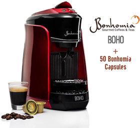 Bonhomia Boho Single Serve Capsule Coffee Maker Passion Red + 50 Bonhomia Coffee Capsules
