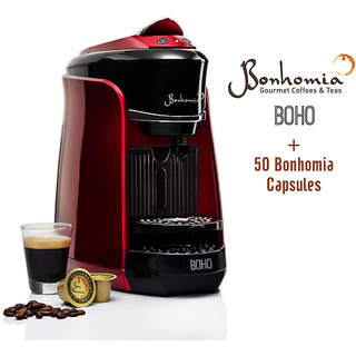 Bonhomia Boho Single Serve Capsule Coffee Maker Passion Red + 50 Bonhomia Coffee Capsules