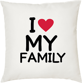I Love My Family  ShopTwiz Printed Cushion Cover 12 Inch ( Cushion Included )