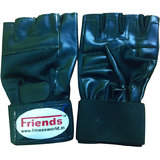 Friends Leather Gym Gloves Along With Wrist Support.!! Weight Lifting Gloves