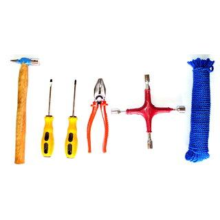 Hammer Screw driver Plier Spanner 4 Wheel Nylon Rope (Hardware Set)