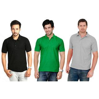 Premium quality pack of 3 black,green,gray tshirt