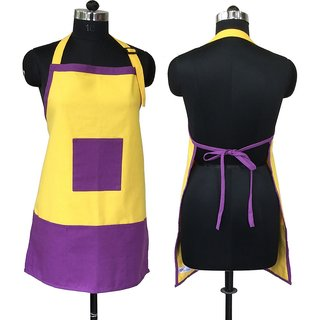 Lushomes Cotton Royal Lilac and Lemon Chrome Bi-color Apron