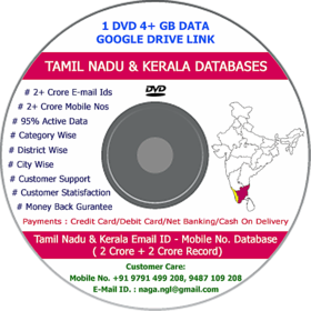 Tamil Nadu and Kerala Email Database 4 Crore Record