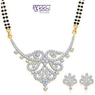 Sukkhi Dazzling and Glamorous Gold and Rhodium Plated CZ Mangalsutra Set