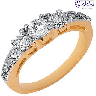 Sukkhi Gold And Rodium Plated Cz Studded Ring 299287