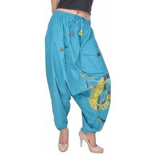 Jaipur Kala Kendra Womens Cotton Floral Printed Afghani Harem Trousers