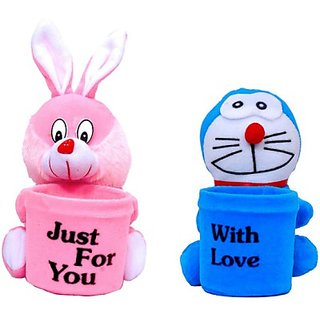 Arthr Rabbit & Doremon Stuffed Pen Stand Soft toys