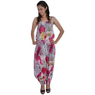 2c4ba68aa9bd Jaipur kala kendra Womens Cotton Floral Printed Long Medium Red Color  Jumpsuit Dress