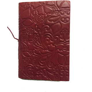Handmade Leather Flower Design Bahi Diary (Size 13.1x9 cm)
