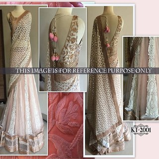 LADYVIEW Light Pink Embroidery Nylon Net Lehenga