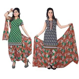 Khushali Presents Crepe 2 Top 1 Bottom 1 Dupatta Dress Material (Green,Navy Blue,Multi)