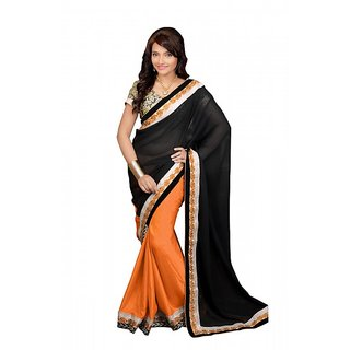 AlviraFab Orange  Black Georgette Embroidered Saree(YF133)