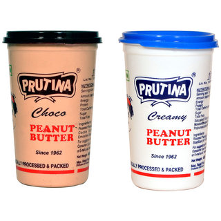 PRUTINA PEANUT BUTTER-400G ( CREAMY AND CHOCO ) PACK OF 2