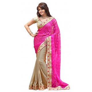 AlviraFab Pink Chiffon Lace Work Saree(YF141)