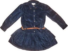 Girls Denim Dress With Frill On Skirt With Red Belt