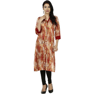 Deep Roots Maroon  White Printed Kurti