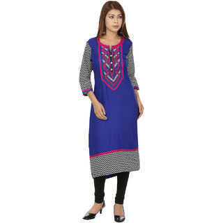 Deep Roots Blue  Black Embroidered Kurti