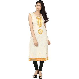 Deep Roots Yellow  Beige Embroidered Kurti