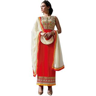 vandv New Red Georgette Designer Salwar Suit