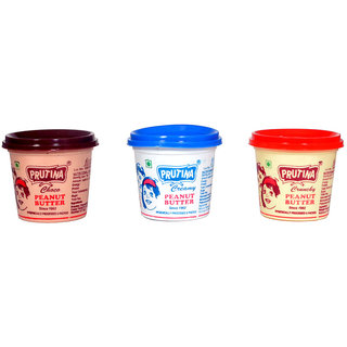 PRUTINA PEANUT BUTTER-200G ( CREAMY, CRUNCHY AND CHOCO ) PACK OF 3