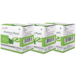 Satinance Multani Matti with Neem  Aloevera 100g pack of 3