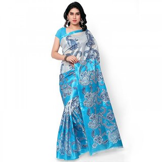 Blue Art Silk Block print Saree Without Blouse