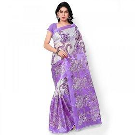 SVB Multicolor Art Silk Block Print Saree Without Blouse