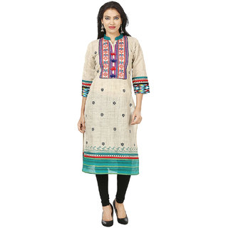 Deep Roots Turquoise  Beige Embroidered Kurti