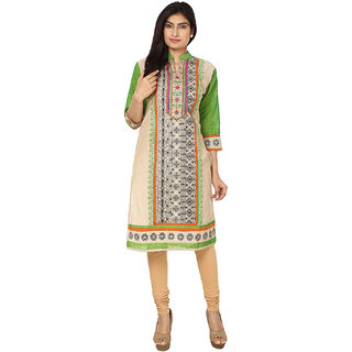 Deep Roots Green  Beige Embroidered Kurti