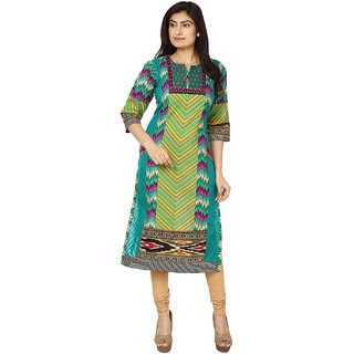 Deep Roots Green  Pink Printed Kurti