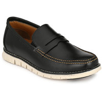 Footlodge Men's Black Slip On Casual Shoes