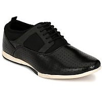 Footlodge Men's Black Lace-Up Casual Shoes