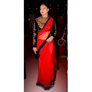 Designer Indian Tradtional Party Wear Red Saree