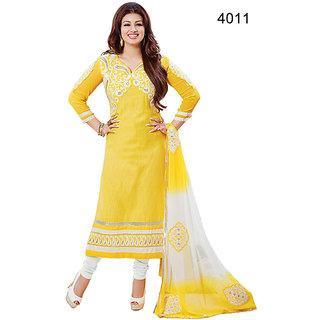 vandv Embroidery Yellow Designer Salwar Kameez