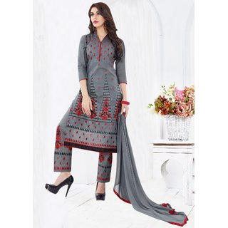 Thankar Grey Embroidered Cotton Sami Lawn Dress Material (Unstitched)