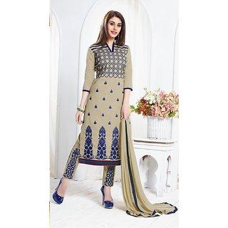 Thankar Beige Embroidered Cotton Sami Lawn Dress Material (Unstitched)