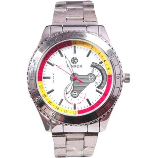 Men Sliver Big Dial With sliver starp Analog Party Boy Watches