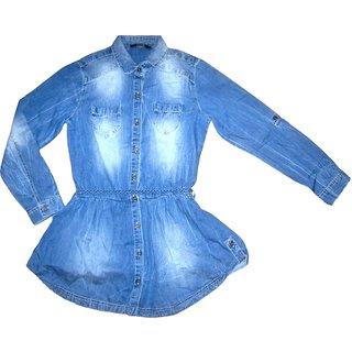 Girls Denim Dress With Elasticated Waist