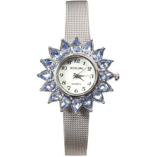 Women Blue Stone White Dial Sliver Belt Analog Party Girls Watches