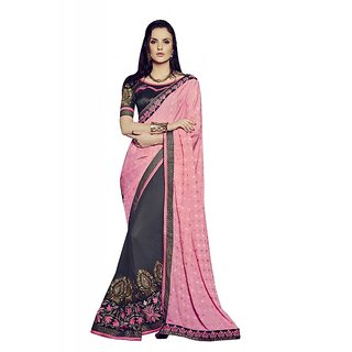 Bahubali Beige & Pink Georgette Embroidered Saree With Blouse