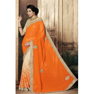 Shaily Orange Georgette Embroidered Saree