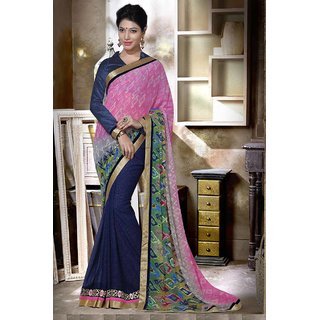 Shaily Pink Georgette Heavy Border Embroidered Saree
