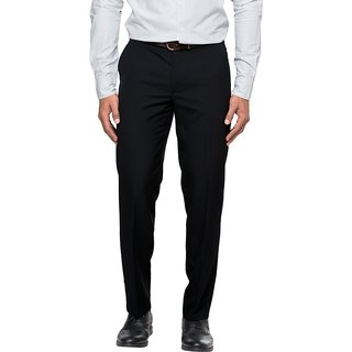 Wajbee Mens Black Formal Trouser