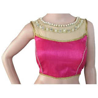 pink raw Silk Blouse and woman