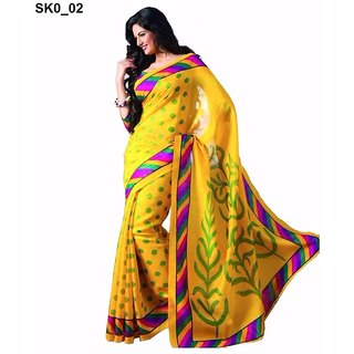 Meia Yellow Art Silk Block Print Saree With Blouse